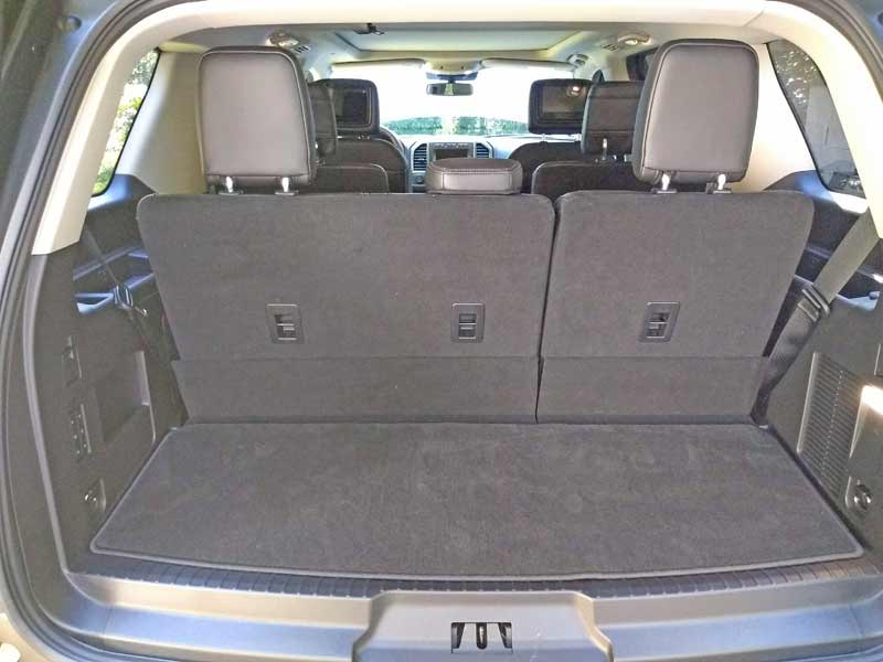 Cargo space is adequate when the third row seats are upright.