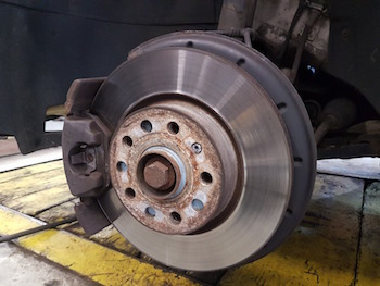 Close-up of a car's brake disk