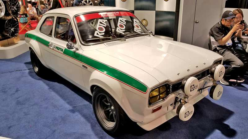 A vintage Ford rally car at SEMA