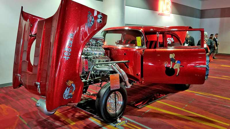 A true classic concept- big engine, straight axle gasser drenched in cherry red metal flake. EVERYWHERE.