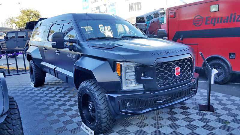 Not quite a lifted monster, but the Nighthawk is a Ford F350-based luxury SUV.