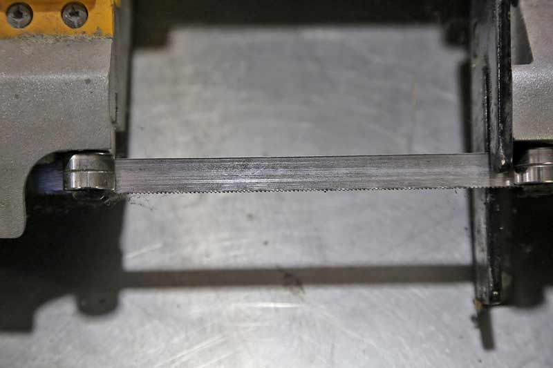 Tooth count for the blade is critical for band saws. You want as many teeth as possible for cutting metal.