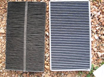 Cabin filters before and after being cleaned.