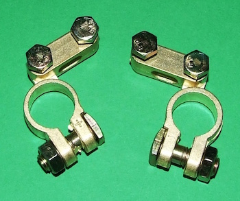 A set of battery terminals.