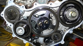 This Toyota 1HZ diesel engine uses timing gears to handle high compression.