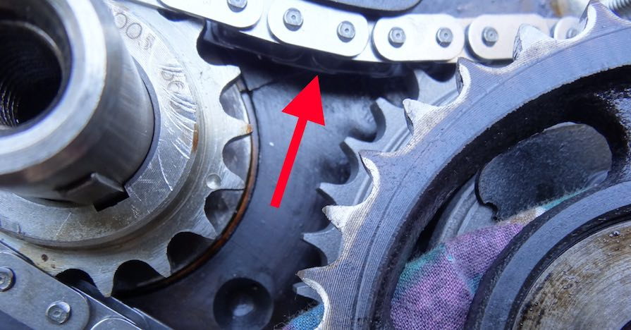 A timing chain in a car's engine.