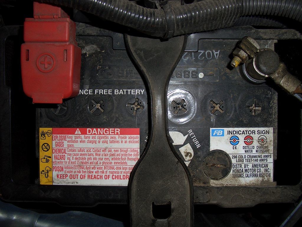 Car battery installed in vehicle