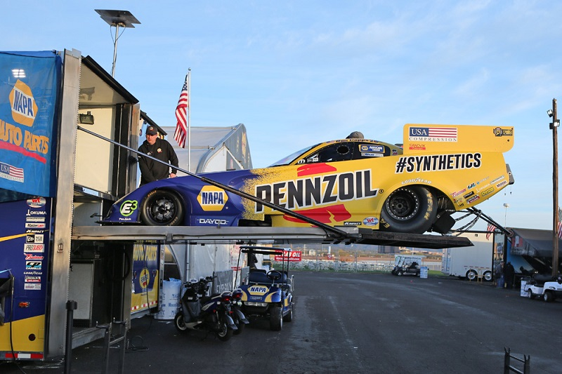 Ron Capps funny car on trailer