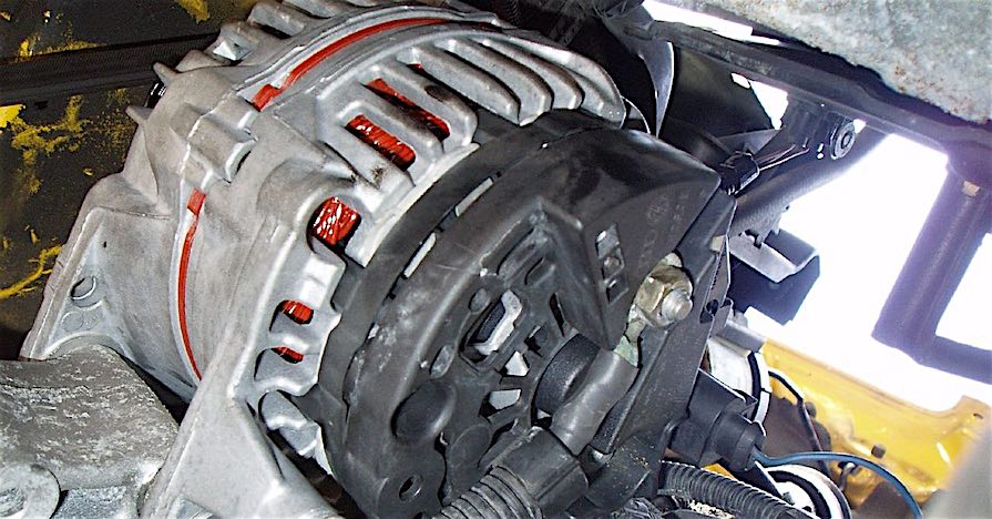 An alternator in a car. Here are the benefits to an alternator and an explanation of what the component does.