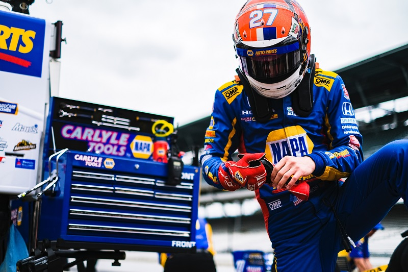 |Photographer: Jamie Sheldrick|Session: qualifying|Event: INDYCAR Grand Prix|Circuit: Indianapolis Motor Speedway|Location: Speedway, Indiana|Series: NTT IndyCar Series|Season: 2019|Country: US|Car: Dallara DW12 UAK18|Number: 27|Team: Andretti Autosport|Driver: Alexander Rossi|