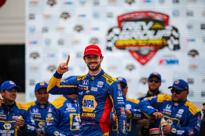 | Driver: Alexander Rossi| Team: Andretti Autosport| Number: 27| Car: Dallara DW12 UAK18| Keyword: Honda|Keyword: NAPA Auto Parts|Keyword: GESS International|Keyword: GESS RNG Biogas|Keyword: Capstone Turbine Corporation|| Photographer: Andy Clary| Event: REV Group Grand Prix| Circuit: Road America| Location: Elkhart Lake, Wisconsin| Series: NTT IndyCar Series| Season: 2019| Country: US| Keyword: motor racing| Keyword: motorsport|Keyword: TX|Keyword: USA|Keyword: open wheel|Keyword: single seater|Keyword: road course|| Session: Race|| Session: podium|Keyword: race|Keyword: celebrations|