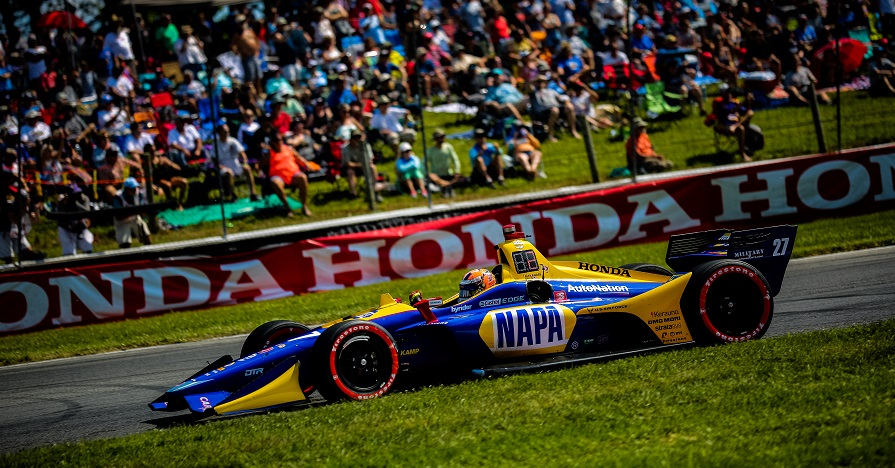 | Driver: Alexander Rossi| Team: Andretti Autosport| Number: 27| Car: Dallara DW12 UAK18| Keyword: Honda|Keyword: NAPA Auto Parts|Keyword: GESS International|Keyword: GESS RNG Biogas|Keyword: Capstone Turbine Corporation|| Photographer: Andy Clary| Event: Hondy Indy 200| Circuit: Mid-Ohio Sportscar Course| Location: Lexington, Ohio| Series: NTT IndyCar Series| Season: 2019| Country: US| Keyword: motor racing| Keyword: motorsport|Keyword: open wheel|Keyword: single seater|Keyword: OH|Keyword: road course|| Session: Race|