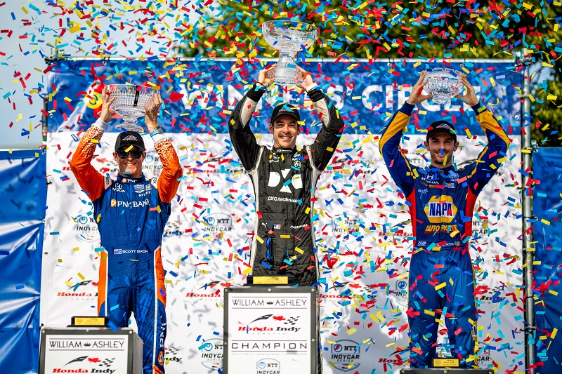 | Driver: Alexander Rossi| Team: Andretti Autosport| Number: 27| Car: Dallara DW12 UAK18| Keyword: Honda|Keyword: NAPA Auto Parts|Keyword: GESS International|Keyword: GESS RNG Biogas|Keyword: Capstone Turbine Corporation|| Driver: Scott Dixon| Team: Chip Ganassi Racing| Number: 9| Car: Dallara DW12 UAK18| Keyword: Honda|Keyword: PNC Bank|| Driver: Simon Pagenaud| Team: Team Penske| Number: 22| Car: Dallara DW12 UAK18| Keyword: Chevrolet|Keyword: DXC Technology|| Photographer: Andy Clary| Event: Honda Indy Toronto| Circuit: Streets of Toronto| Location: Toronto, Ontario| Series: NTT IndyCar Series| Season: 2019| Country: Canada| Keyword: motor racing| Keyword: motorsport|Keyword: open wheel|Keyword: single seater|Keyword: road course|Keyword: street track|Keyword: street race|Keyword: street course|Keyword: ON|| Session: Race|
