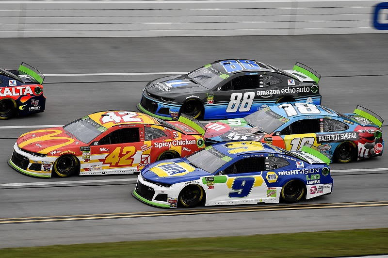 #9: Chase Elliott, Hendrick Motorsports, Chevrolet Camaro NAPA Night Vision, #42: Kyle Larson, Chip Ganassi Racing, Chevrolet Camaro McDonald's, #18: Kyle Busch, Joe Gibbs Racing, Toyota Camry M&M's Hazelnut, and #88: Alex Bowman, Hendrick Motorsports, Chevrolet Camaro Nationwide / Amazon Echo Auto