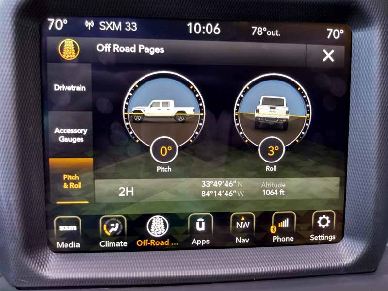 2020 Jeep Gladiator offroad apps incline