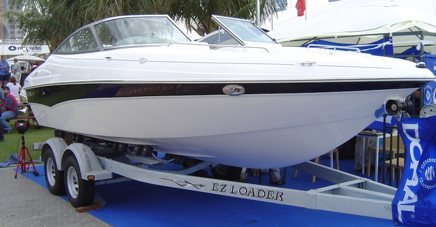 A power boat properly cleaned and ready for storage.