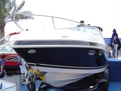 A power boat ready uploaded on a trailer.