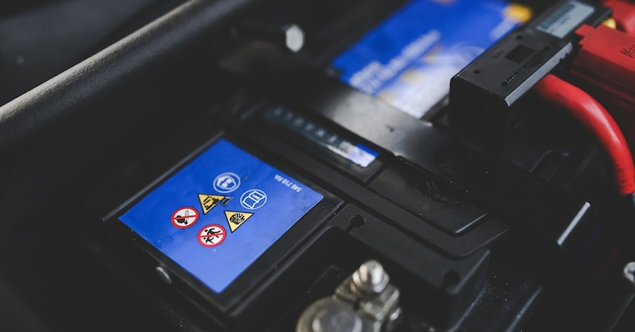 A recently installed car battery. Learn the effect of temperature on battery life.