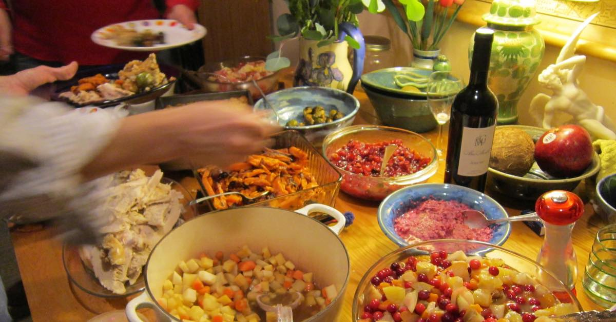 Holiday dinner. With more food than everyone can eat in tow, how do you get the leftovers home?