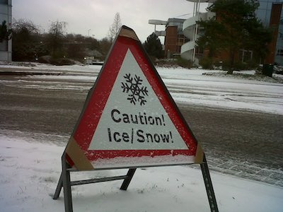 Winter caution sign