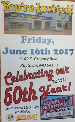 Laurel Heights Automotive 50th anniversary poster