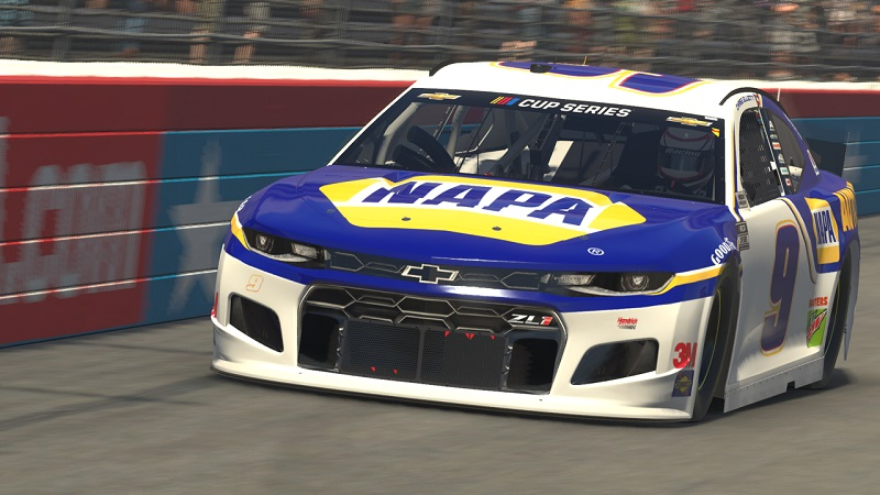 Chase Elliott iRacing Texas 2020 NAPA 9 eNASCAR Pro Invitational Series nose