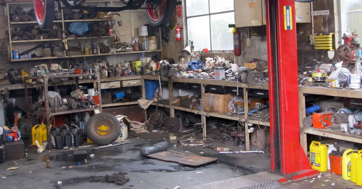 a messy garage