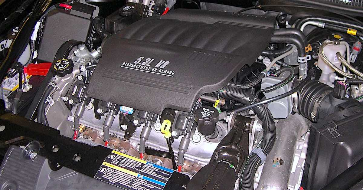 a 5.3L V8 engine in a front wheel drive car