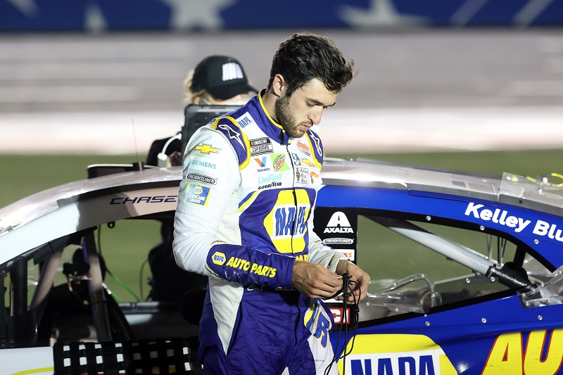 CONCORD, NORTH CAROLINA - MAY 24: Chase Elliott, driver of the #9 NAPA Auto Parts Chevrolet, exits his car after the NASCAR Cup Series Coca-Cola 600 at Charlotte Motor Speedway on May 24, 2020 in Concord, North Carolina. (Photo by Chris Graythen/Getty Images)