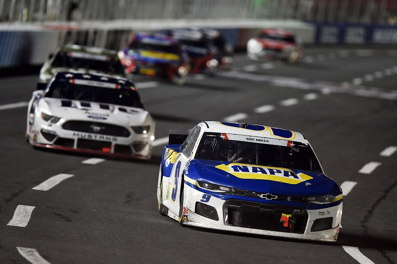 CONCORD, NORTH CAROLINA - MAY 24: Chase Elliott, driver of the #9 NAPA Auto Parts Chevrolet, leads a pack of cars during the NASCAR Cup Series Coca-Cola 600 at Charlotte Motor Speedway on May 24, 2020 in Concord, North Carolina. (Photo by Jared C. Tilton/Getty Images)
