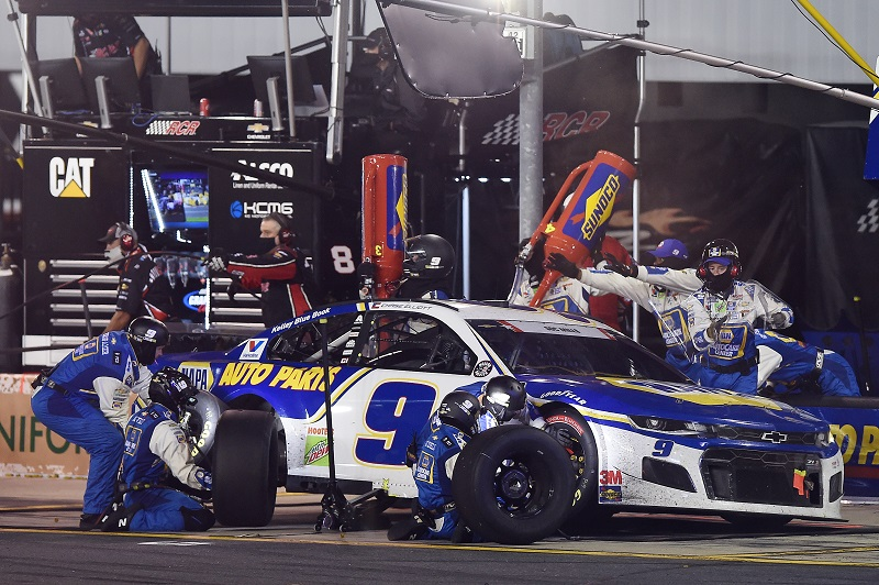 CONCORD, NORTH CAROLINA - MAY 24: Chase Elliott, driver of the #9 NAPA Auto Parts Chevrolet, pits during the NASCAR Cup Series Coca-Cola 600 at Charlotte Motor Speedway on May 24, 2020 in Concord, North Carolina. (Photo by Jared C. Tilton/Getty Images)