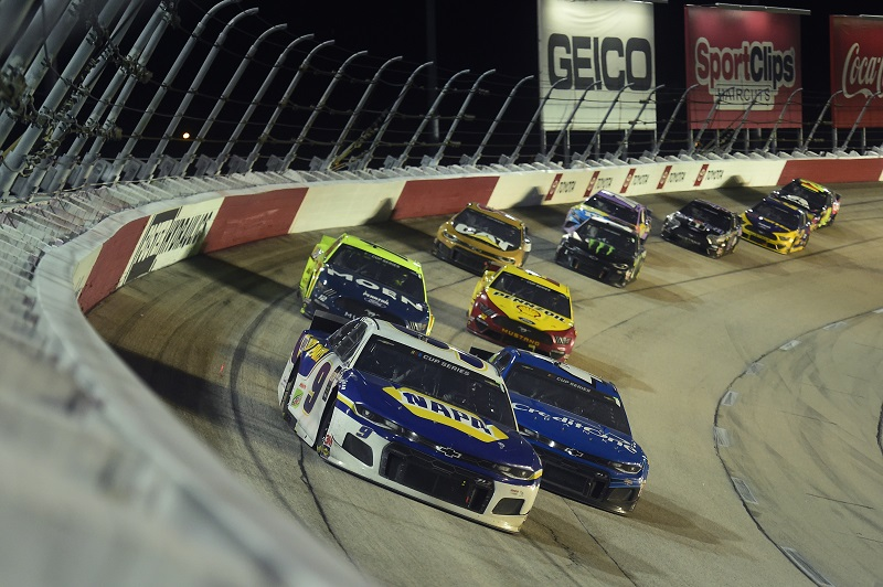 DARLINGTON, SOUTH CAROLINA - MAY 20: Chase Elliott, driver of the #9 NAPA Auto Parts Chevrolet, leads a pack of cars during the NASCAR Cup Series Toyota 500 at Darlington Raceway on May 20, 2020 in Darlington, South Carolina. (Photo by Jared C. Tilton/Getty Images)