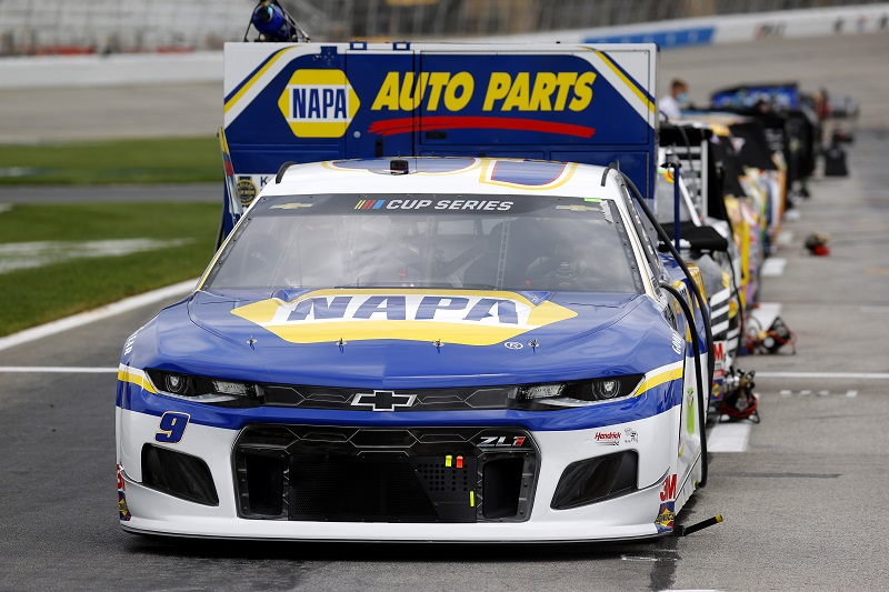 HAMPTON, GEORGIA - JUNE 07: The #9 NAPA Auto Parts Chevrolet, driven by Chase Elliott, sits on the grid prior to the NASCAR Cup Series Folds of Honor QuikTrip 500 at Atlanta Motor Speedway on June 07, 2020 in Hampton, Georgia. (Photo by Chris Graythen/Getty Images)