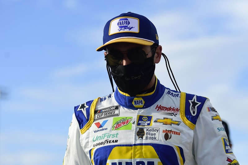 MARTINSVILLE, VIRGINIA - JUNE 10: Chase Elliott, driver of the #9 NAPA Auto Parts Chevrolet, prepares for the NASCAR Cup Series Blue-Emu Maximum Pain Relief 500 at Martinsville Speedway on June 10, 2020 in Martinsville, Virginia. (Photo by Jared C. Tilton/Getty Images)