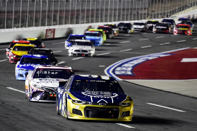 CONCORD, NORTH CAROLINA - MAY 28: Chase Elliott, driver of the #9 Kelley Blue Book Chevrolet, leads a pack of cars during the NASCAR Cup Series Alsco Uniforms 500 at Charlotte Motor Speedway on May 28, 2020 in Concord, North Carolina. (Photo by Jared C. Tilton/Getty Images)