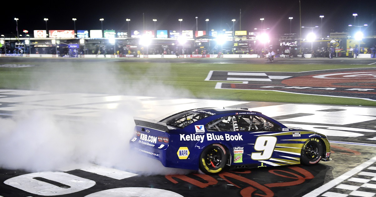 CONCORD, NORTH CAROLINA - MAY 28: Chase Elliott, driver of the #9 Kelley Blue Book Chevrolet, celebrates with a burnout after winning the NASCAR Cup Series Alsco Uniforms 500 at Charlotte Motor Speedway on May 28, 2020 in Concord, North Carolina. (Photo by Jared C. Tilton/Getty Images)