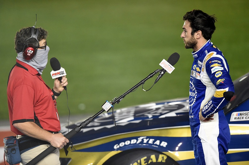 CONCORD, NORTH CAROLINA - MAY 28: Chase Elliott, driver of the #9 Kelley Blue Book Chevrolet, speaks to the media after winning the NASCAR Cup Series Alsco Uniforms 500 at Charlotte Motor Speedway on May 28, 2020 in Concord, North Carolina. (Photo by Jared C. Tilton/Getty Images)