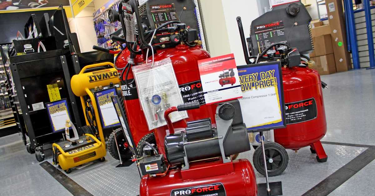 An assortment of air compressors