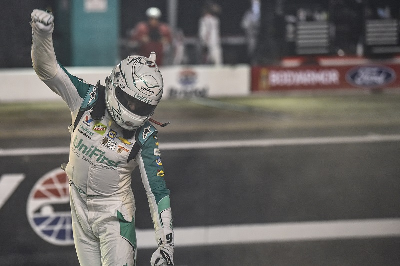 #9: Chase Elliott, Hendrick Motorsports, Chevrolet Camaro UniFirst, celebrates after winning the ALL Star race in Bristol.