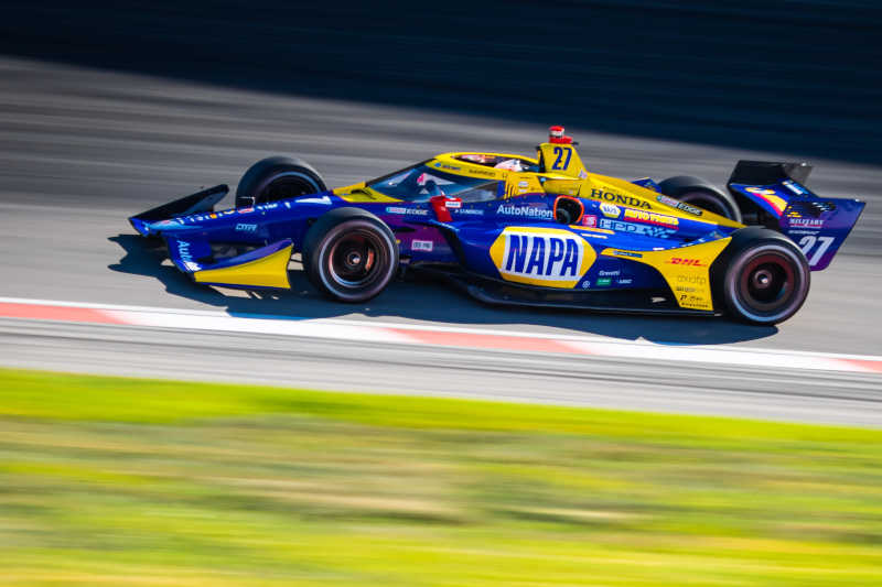 |Photographer: Kenneth Midgett|Event: Bommarito Automotive Group 500|Circuit: World Wide Technology Raceway|Location: Madison, Illinois|Series: NTT IndyCar Series|Country: United States|Session: FP1|Team: Andretti Autosport|Car: Dallara DW12 UAK18|Car: Honda|Number: 27|Driver: Alexander Rossi|