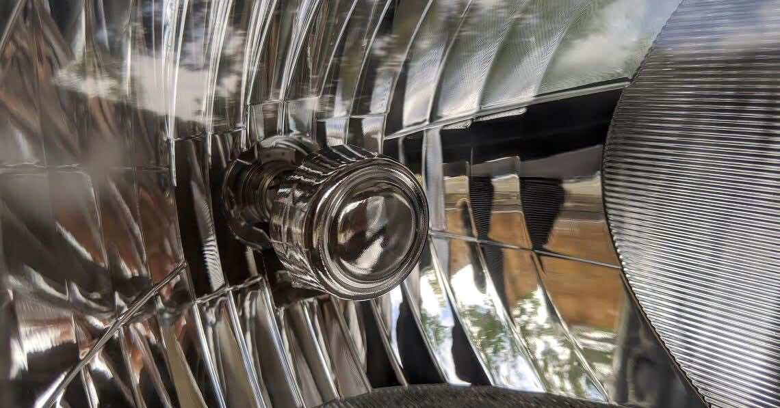 Close-up of a turn signal in a headlight
