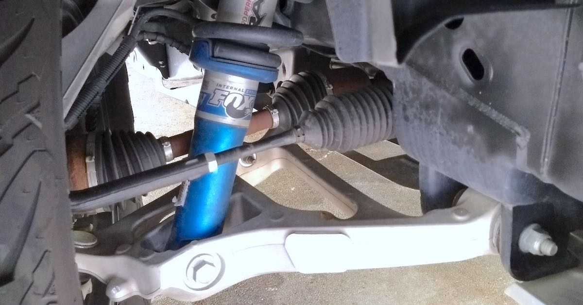 Front steering linkage on a Ford Raptor