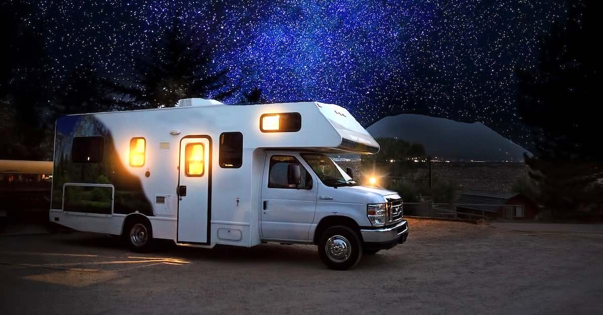 RV at night under the stars