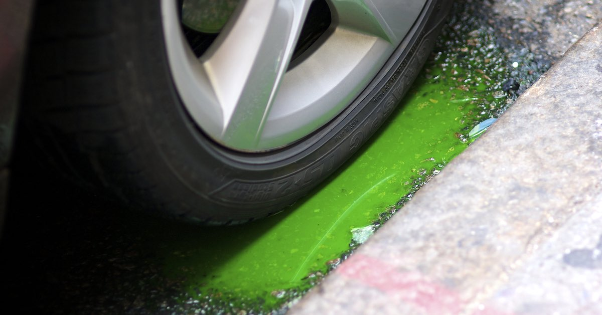 Antifreeze spilled on the ground next to a car tire