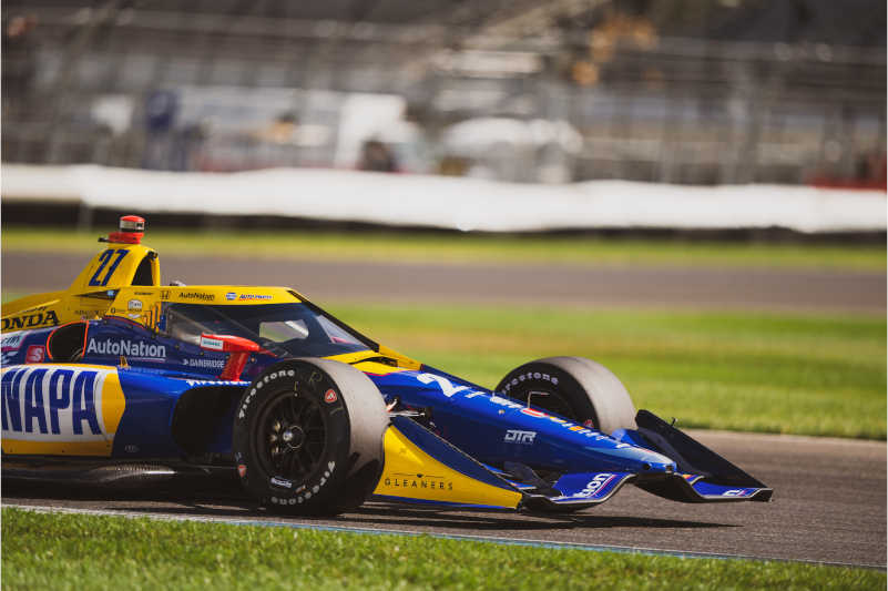 |Photographer: Taylor Robbins|Event: INDYCAR Harvest GP Race 1|Circuit: Indianapolis Motor Speedway|Location: Speedway, Indiana|Series: NTT IndyCar Series|Country: United States|Session: FP1|Season: 2020|Team: Andretti Autosport|Car: Dallara DW12 UAK18|Car: Honda|Number: 27|Driver: Alexander Rossi|