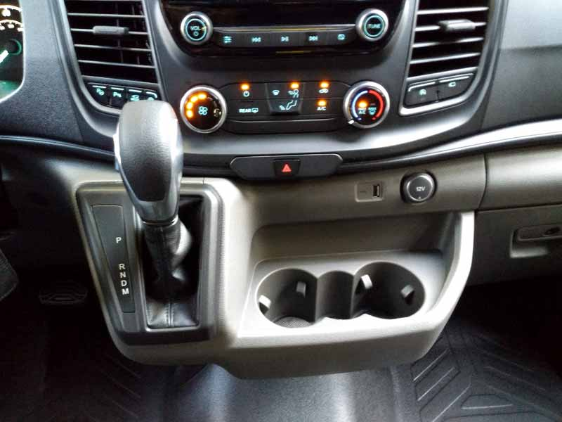 2020 Ford Transit dash center and shifter.