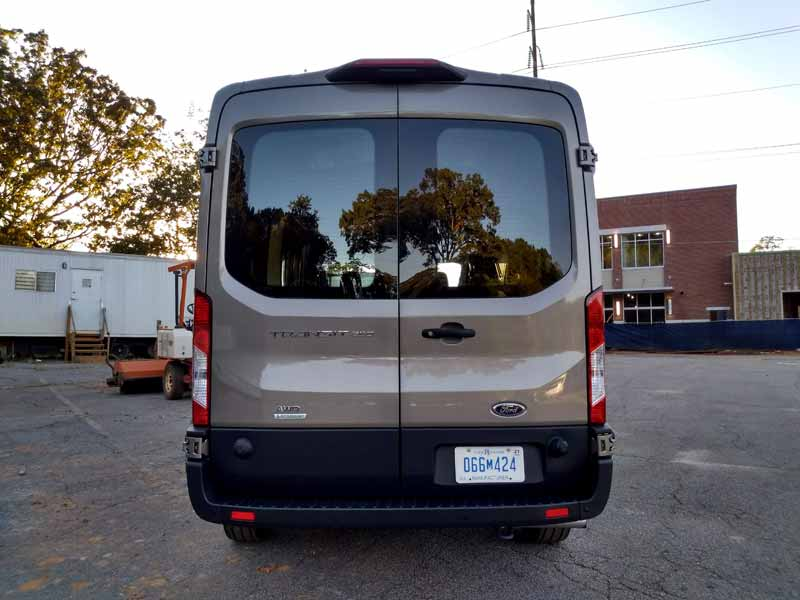 2020 Ford Transit rear view.
