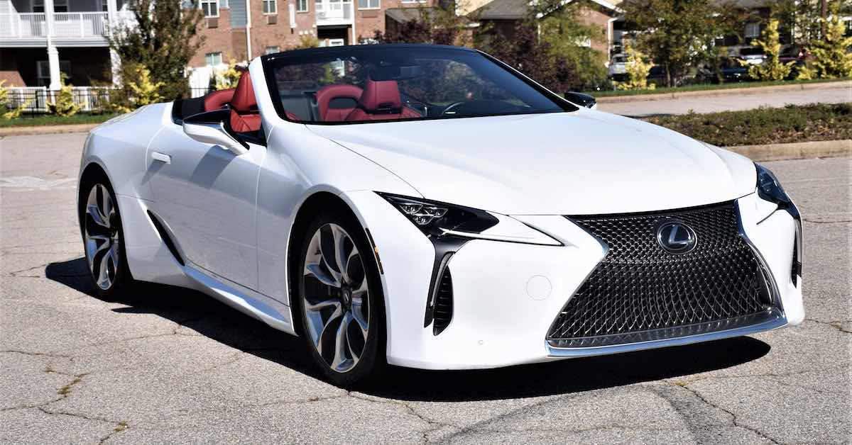 A parked Lexus LC 500 convertible.