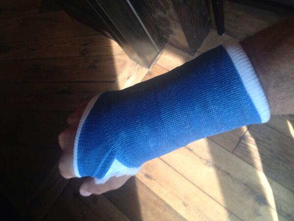 Martin Truex Jr. broken wrist cast Bristol 2013 Twitter