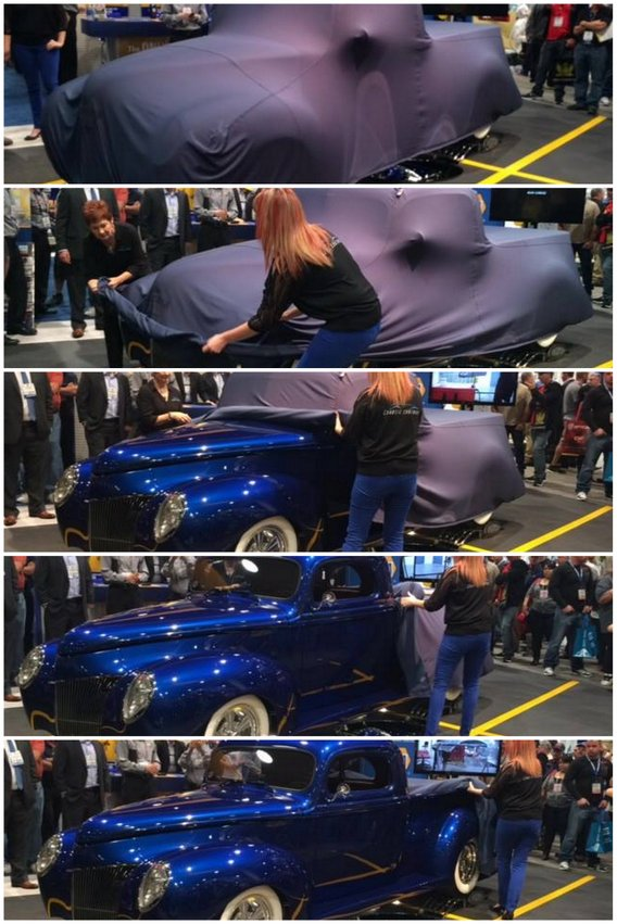 Chaotic Customs 1940 Ford Pickup SEMA 2013 unveiling collage